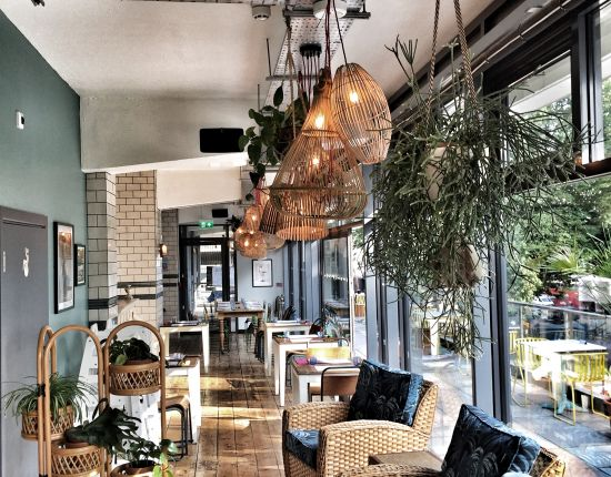 Plants incorporated in restaurant designs just